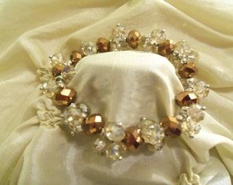 Stunning Clear & Gold Swarovski Crystals Stretch Bracelet- Birthday Gift for Her Mom Mother Teen. Women's Wedding Anniversary Jewelry