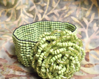Sale- Vibrant Women's Small Size Lime Green SEED BEAD Flower Stretch Cuff Band Bracelet- Birthday Gift Her Mom Mother Teen. Woman's Jewelry