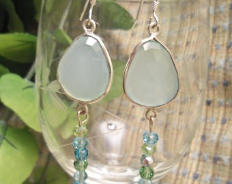 Sale- Lovely HandCrafted Aqua Chalcedony & Swarovski Crystals Sterling Silver 925 Dangle Earrings- Birthday Anniversary Gift Her Mom Mum