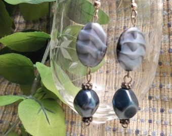 Sale- Beautiful Unique Women's HandCrafted Dark Blue & Black Czech Beads Earrings- Birthday Gift Her Teen Mom Mother Mum. Women's Jewelry