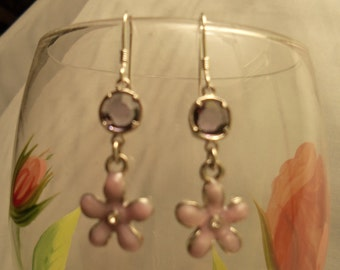 Sale- CUTE Sterling Silver 925 Purple Tanzanite & SWAROVSKI Crystal Enamel FLOWER Earrings- Birthday Gift Her Mom Women Mother Teen. Spring