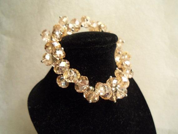 Sale- Beautiful HandMade Light Peach Swarovski Crystals Stretch Bracelet- Birthday Gift Her Teen Mom Mother. Women's Jewelry. Wedding Prom