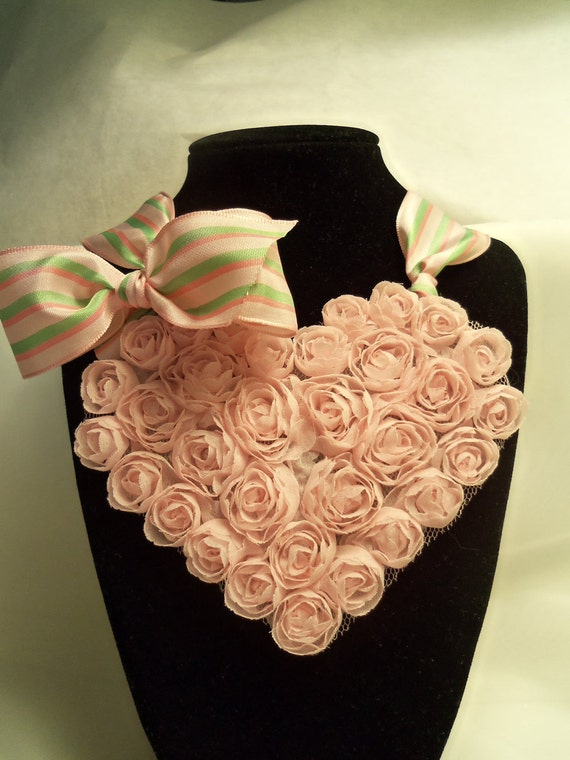 On Sale- Pink Roses Fabric Heart & Striped Ribbon Choker Necklace- Prom Jewelry. Wedding Jewelry. Rehearsal Dinner. Bridal Shower. Teens.