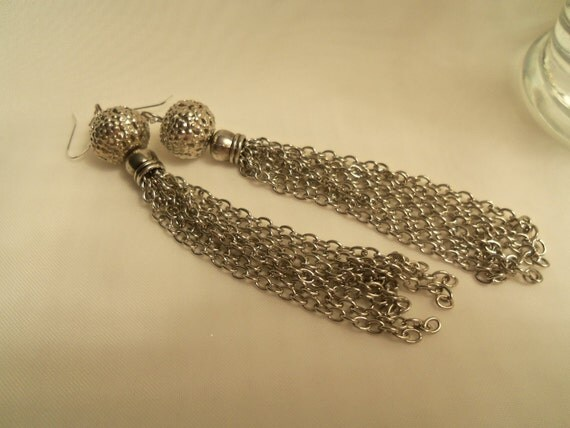 Sale- Chic Women's Long Tassel Silver Chain & Sterling Silver (925) Dangle Earrings- Birthday Gift for Her Teen Mom Mother. Women's Jewelry