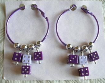 Hoop Earrings with Dice, Vegas Hotrod Style, Purple with Silver, Womens Earrings Handmade ON SALE