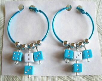 ON SALE Hoop Earrings, Hotrod Vegas Style Dice Hoops, Blue n White, Womens Earrings Handmade