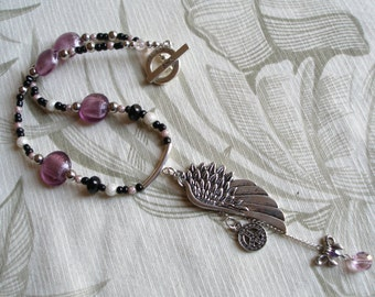 Handmade Necklace with Wing, Peace Sign & Glass Beads, Peace Begins with a Smile :)