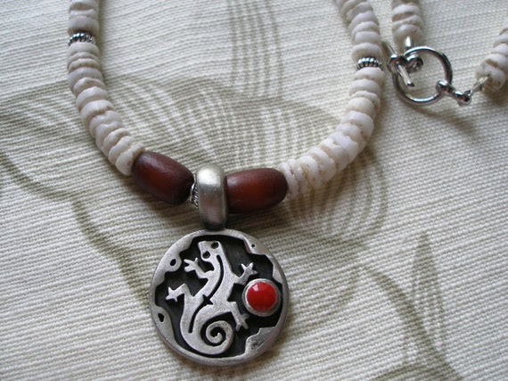 Handmade Vintage Puka Shell & Pewter Gecko Necklace, Women or Men, ON SALE