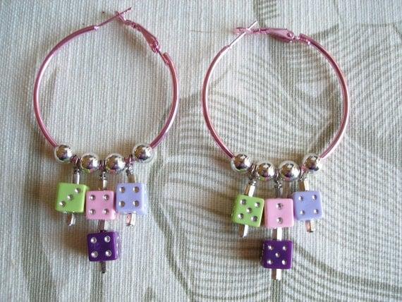 ON SALE Hoop Earrings with Dice, Vegas Hotrod Style, Pink, Green, Lavender, Purple with Silver, Handmade Womens Earrings