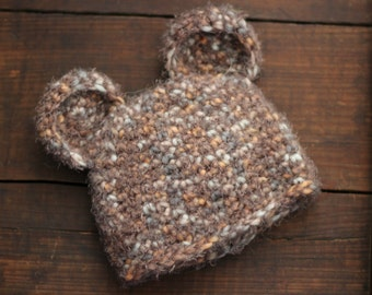 DISCOUNTED - old stock -  Newborn Crochet Fuzzy Bear Beanie Hat - Ready to Ship, RTS
