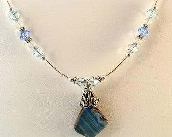 "Sterling Australian Boulder Opal Swarovski crystal Necklace 24"" w Liquid Silver, October birthstone"