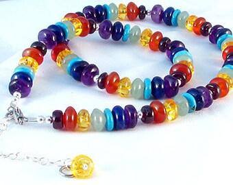 "Rainbow multi gemstone chakra necklace, adjustable 18"" to 21"""