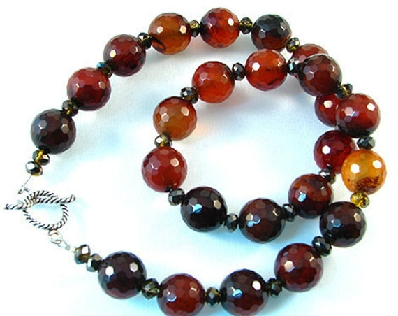 Beaded faceted Carnelian gemstone necklace,red-orange stone necklace, red-agate