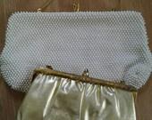Vintage white beaded purse w/ FREE gold purse