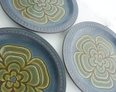 Three Stoneware Glazed Plates  Mod Dinnerware