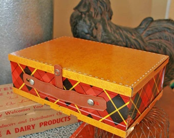 "Antique Metal Lunch Box- Folds and Collapsible to 1/2"" thick."
