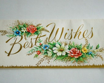 """Vintage Greeting Card by Sunshine Cards """"Best Wishes"""""""