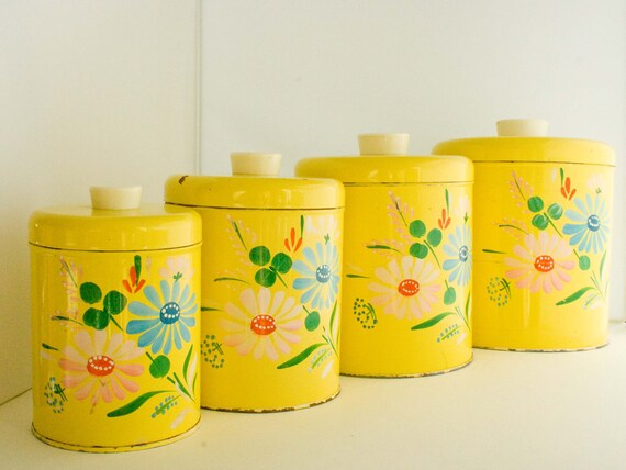 RESERVED :) Ransburg Kitchen Canisters Handpainted Yellow Toleware