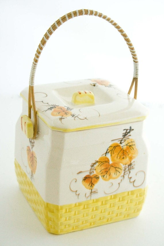 Vintage Oriental Looking Biscuit Jar with a Bamboo Handle