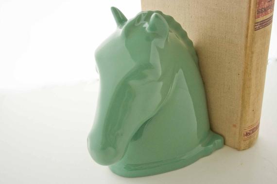 RESERVED :)  Abingdon Jadeite Green Horse Bookend