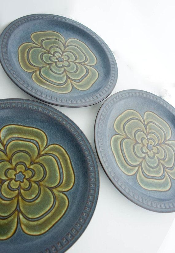 Three Stoneware Glazed Plates  Mod Dinnerware