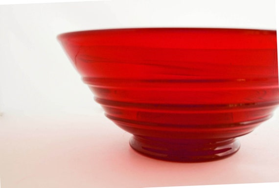 Vintage Ruby Red Blown Glass Bowl