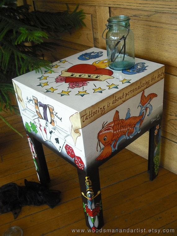 Old School Tattoo Table Metal By WoodsmanAndArtist On Etsy