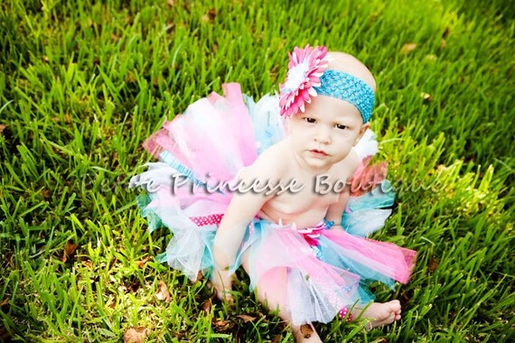 First Birthday Tutu. Pink Blue White Cupcakes. Birthdays. Photography Prop. Baby 12-18 Months