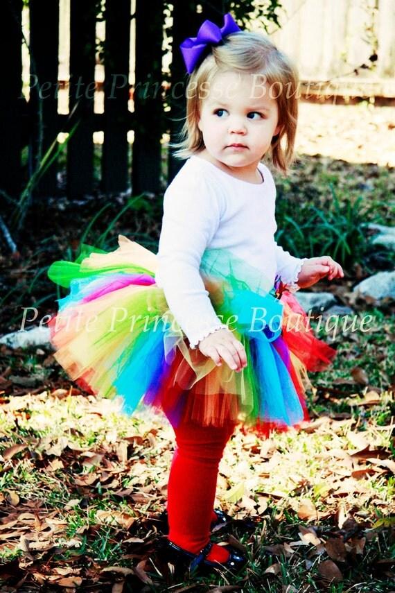Rainbow Tutu. Birthdays. Flower. Button. Photography Prop. First photo. Baby Toddler Girls