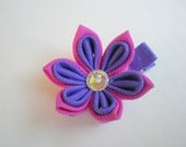 """Wild Berry and Periwinkle """"Buttercup"""" Kanzashi Flower Hair Clip"""