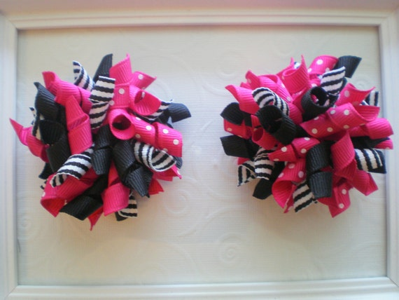 Shocking Pink and Black - solids, polka dots and stripes - Korker Hair Bow