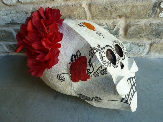 Dia de los Muertos Bride Skull Piñata (white with black details, red flowers, party size)