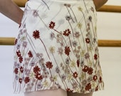 Classical Fit Ballet Wrap Skirt: Burgundy, Cream, Periwinkle and Mauve Floral