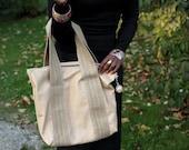 Soft leather shoulder bag, shopper, burlap straps, soft, pale tan color