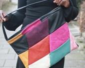 handbag tote handmade Leather diamond patchwork : Colourful fantasy