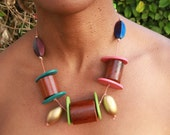 necklace wooden beads colourful plus double pair of earrings: Salsa Summer