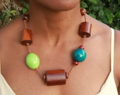 Necklace Wooden and Ceramic beads  lovely for the summer. Ceramic garden green brown