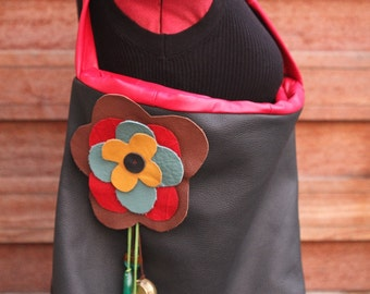 Leather handbag / tote handmade Black and red flowery leather : Flower legend ooak