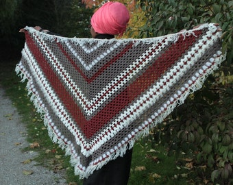 shawl, Aztec winter: handmade ooak  tri colour cotton and quality acrylic yarns grey red burgundy