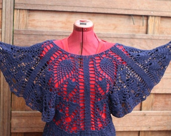 Crochet  top,blue  wide sleeved 100% bamboo yarn, handmade size M / L : Blue lagoon.