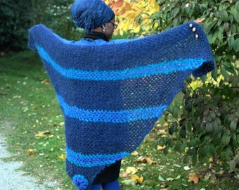 Crochet Triangle Shawl, 100% Mohair Yarn , Wide Open Blue - Rich blues, handmade