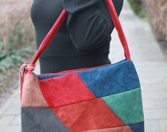 Colourful suede (genuine leather) bag / tote, sac: Diamonds handmade patchwork diamond