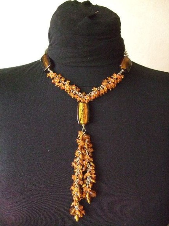 SALE: Rusty memoires. Hippie necklace and earring set. Mix of glass and plastic crystal-like beads.
