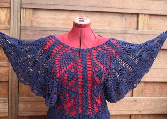 Crochet  top,blue  wide sleeved 100% bamboo yarn, handmade size M / L : Blue lagoon.