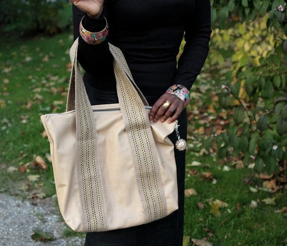 Soft leather shoulder bag, shopper, burlap straps, soft, pale tan color