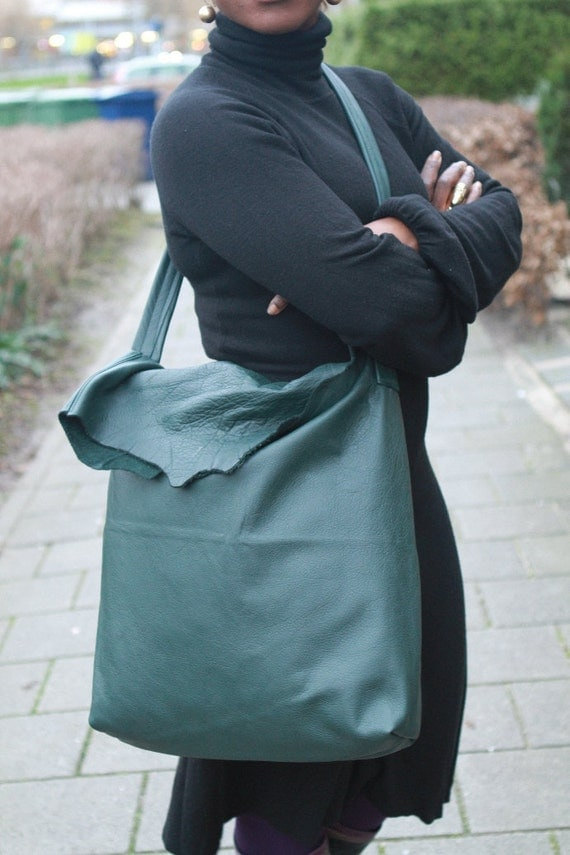Green leather unisex tote, shoulder and cross over bag