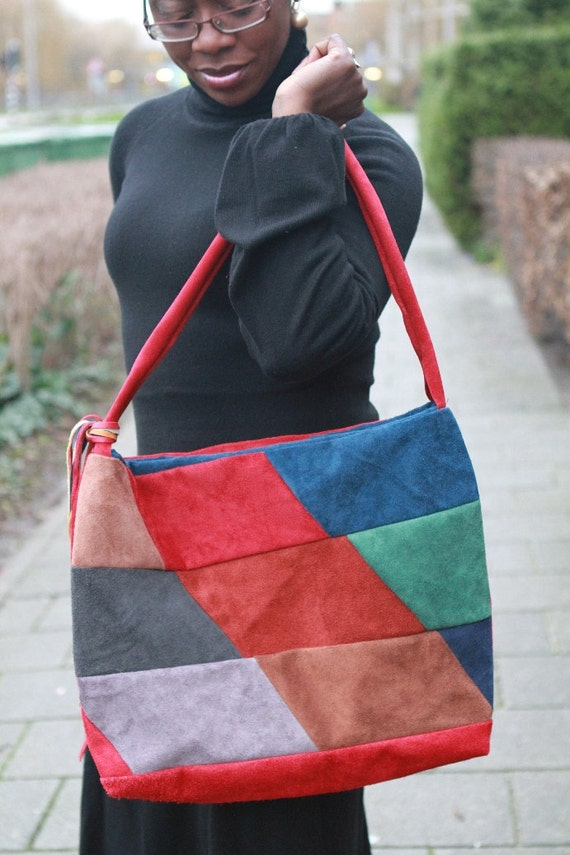Colourful suede (genuine leather) bag / tote, sac: Diamonds handmade patchwork diamond