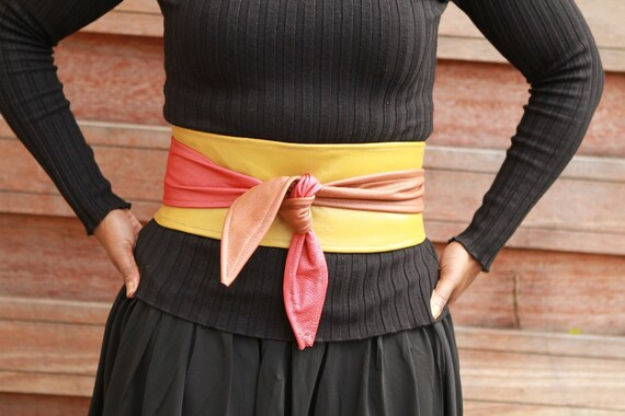 Patchwork leather belt / cincher: combination of earthy colours (mustard, red and caramel brown)