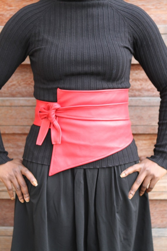 Asymetric red soft leather cincher / belt