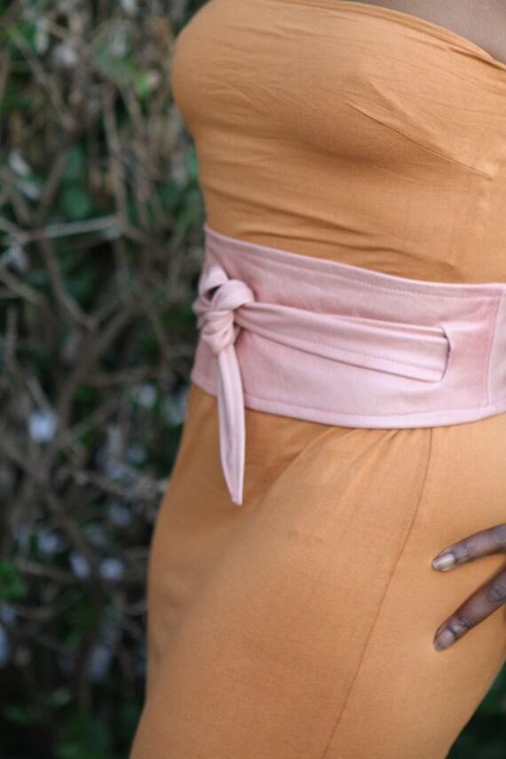 Baby Pink leather belt / waist cincher handmade ooak avantgarde pastel